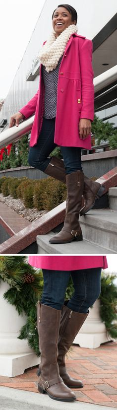 """Jacinda looks adorable in her bright pink coat, infinity scarf and Circus by Sam Edelman """"Roman"""" riding boots! Shop this Only at Famous style for a chic addition to your boot collection."""