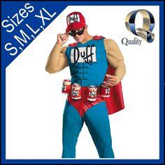 Duffman Adult Costume | Licensed The Simpsons Duff Man Beer Man Fancy Dress