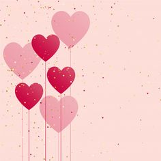 Hearts balloon with golden confetti Free Vector Valentine Background, Heart Background, Glitter Background, Geometric Background, Pastel Background Wallpapers, Cute Wallpaper Backgrounds, Cute Wallpapers, Abstract Backgrounds, Heart Iphone Wallpaper