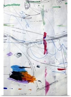 Poster Print Wall Art Print entitled Blueprint with smeared drawing, None