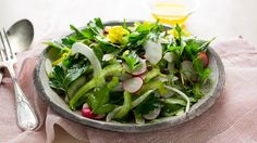 NYT Cooking: Radish and Herb Salad with Meyer Lemon Dressing - I make a a riff on this with orange instead of lemon & sometimes strawberries or thin slice pear with a bit of sliced almonds. Always a hit with guests