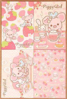 Piggy Girl piglet strawberry tea letter paper set Japan