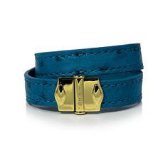 D'Monti Coral Blue - France Luxe Genuine Ostrich Leather Double Bracelet
