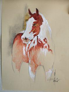 Dibujo Caballo pinto Sanguina y Gouache sobre canson A4