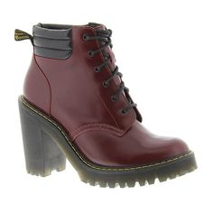 Dr Martens Persephone 6-Eye Padded Collar Boot (12.110 RUB) ❤ liked on Polyvore featuring shoes, boots, shiraz, padded boots, dr martens boots, yellow shoes, stitch shoes and dr martens shoes