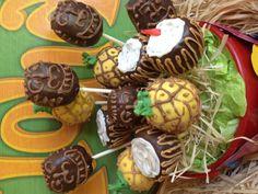 Luau cake pops made by Densonios & co. #luaucakepops #pinneapplecakepops #tikkycakepops #coconnutcakepops