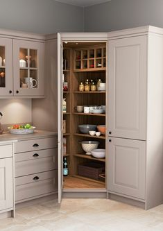 The Lansbury CORNER PANTRY. A twist on the classic pantry, The Lansbury is a corner pantry cabinet that will make the most out of the space in your kitchen. The Lansbury will assist you with all your organisational needs. Kitchen Interior, Home Decor Kitchen, Kitchen Cabinet Design, Diy Kitchen Storage, Kitchen Room Design, Corner Pantry Cabinet, Kitchen Layout, Kitchen Pantry Design, Corner Kitchen Pantry
