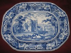 LG. c1825 MEIR STAFFORDSHIRE BLUE PLATTER LANTHONY ABBEY PINEAPPLE BORDER SERIES #JohnMeir