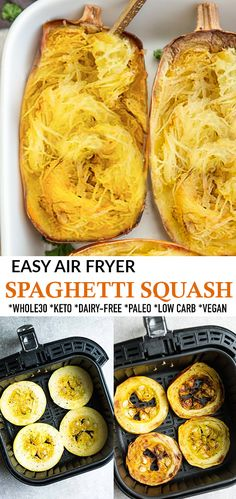 Air Fryer Spaghetti Squash is the easiest way to cook spaghetti squash and comes out perfectly every time. A simple and delicious side dish that is naturally gluten free, Whole30, vegan, paleo, low carb and keto friendly. A delicious pasta substitute and works great for meal prep and freezer-friendly. #spaghettisquash #airfryer #whole30 #vegan #keto #lowcarb #paleo #sidedish #squash Good Healthy Recipes, Lunch Recipes, Paleo Recipes, Low Carb Recipes, Dinner Recipes, Healthy Eats, Yummy Recipes, Dinner Ideas, Low Carb Side Dishes