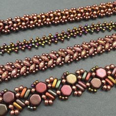 This Quad Wrap original design highlights Honeycomb beads using Herringbone stitch techniques that combine two-hole and single-hole beads. Included with this tutorial are two sets of basic instructions to help you get started. Flat basic herringbone knowledge is needed. Peyote stitch is