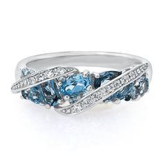 Blue Topaz, Iolite & White Topaz Ring in Sterling Silver