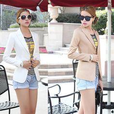 Moda Jacket mulheres Suit dobrável mangas compridas lapela brasão forrado com listrado único botão Vogue Jackets Plus Size Blazer mulheres em Blazers de Roupas e Acessórios Femininos no AliExpress.com   Alibaba Group