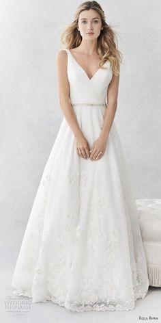 ella rosa spring 2017 bridal sleeveless with strap v neck wrap over bodice romantic a  line wedding dress open v back sweep train (369) mv