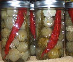 Fire Balls - can use any small green veggies, even squash.but tomatoes are the best. Canning Cherry Tomatoes, Pickled Green Tomatoes, Pickled Cherries, Canned Cherries, Pickled Eggs, Canning Recipes, My Recipes, Favorite Recipes, Recipies