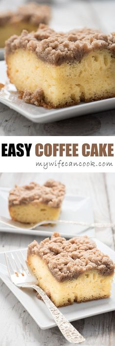 Easy Coffee Cake ~ The perfect comfort food to go along with your morning coffee. Not only is it delicious, it's freezable! So share this coffee cake with friends or save leftovers for another time...probably best to not eat it all at once, although we'll understand if you can't resist. Coffee cake is hard to resist. And it makes eating cake for breakfast socially acceptable. :)