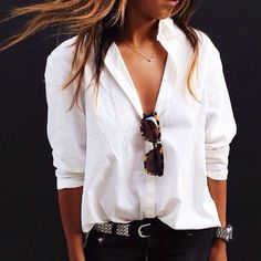 shirt tale - just love a white blouse and jeans for the perfect chic and casual weekend wear