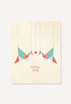 Paper Cranes Origami Birds personalized print