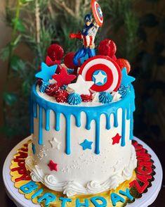Captain America Birthday Cake, Avengers Birthday Cakes, Captain America Cake, Baby Boy Birthday Cake, 4th Birthday Cakes, Pastel Capitan America, Las Vegas Cake, Strawberry Vanilla Cake, Marvel Cake