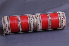 Punjabi Bridal Bangles in Red and White Stones (Jarkan wala Chura) Price:4,300INR