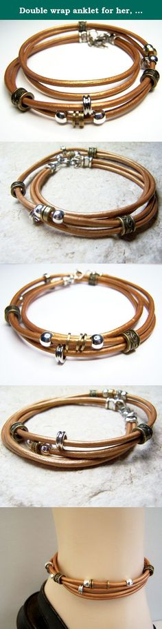 Double wrap anklet for her, Leather ankle bracelet for him with sliding beads, Birthday gift. Double wrap leather anklet. Custom size to fit petite to plus size, men or women. Leather is a copper/gold-tone color. Make sure to measure ankle before you order.
