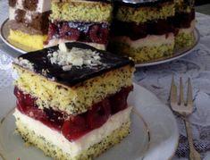 Prăjitură cu mac, cremă de vanilie si gem de visine Poland Food, Romanian Desserts, Cheesecakes, Nutella, Tiramisu, Sweet Treats, Sweets, Cookies, Ethnic Recipes