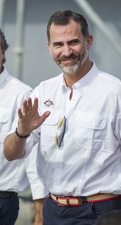 King Felipe VI of Spain visit the area of World Sailing Championship on September 13, 2014 in Santander, Spain.