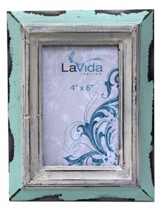 Rustic Looking Mint Photo Frame with White Inner Detail