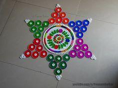 Diwali special quick and easy rangoli design | Rangoli by Poonam Borkar - YouTube