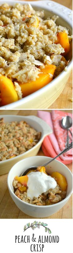 This crisp is gluten free and so easy to make, use frozen peaches too!