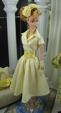 """Mad Men Inspired Barbie Collection: Betty"" from Matisse Doll Fashions archives, October 2009 Photobucket Vintage Barbie Clothes, Doll Clothes, Barbie Dress, Dress Up, Barbie Gowns, Vestidos Chiffon, Moda Retro, Beautiful Barbie Dolls, Yellow Fashion"