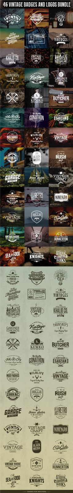 A Bundle of 46 Badges and logos which can be used as your logos, labels, badges…