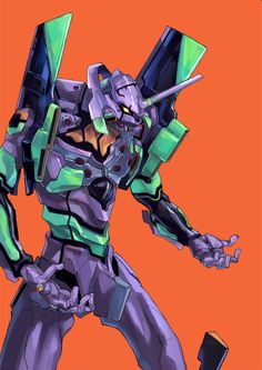 EVA 01 by Yoshiyuki Sadamoto (character designer for Evangelion and co-founder of GAINAX Studio) and Hideaki Anno (writer and director of Neon Genesis Evangelion and co-founder of GAINAX Studio)