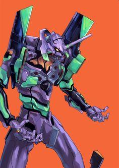 EVA 01 by Yoshiyuki Sadamoto (character designer for Evangelion and co-founder of GAINAX Studio) and Hideaki Anno (writer and director of Neon Genesis Evangelion and co-founder of GAINAX Studio)