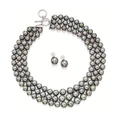 CULTURED PEARL AND DIAMOND NECKLACE AND PAIR OF MATCHING PENDENT EARRINGS