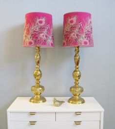 Vintage Pair Hollywood Regency Bohemian Brass Lamps