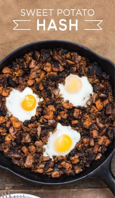 Wake up to something savory with this delicious Sweet Potato Hash recipe made with corned beef and gooey sunny side up eggs. MARY KITCHEN® Corned Beef Hash is the perfect staple for your breakfast or brunch recipe, making it easy and convenient to prepare a hearty meal for your family in the morning. This flavorful breakfast is sure fill up your family and give them the energy they need to kick start their day!