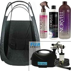 Fuji hvlp TAN GLO Spray Tan System with Norvell Tanning Solution & Tent