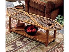 Vintage Snowshoe Coffee Table: This is the perfect table for a cozy cabin in the mountains. (via Black Forest Decor) Ski Lodge Decor, Rustic Cabin Decor, Rustic Cabins, Log Cabins, Unique Coffee Table, Rustic Coffee Tables, Rustic Table, Rustic Wood, Black Forest Decor