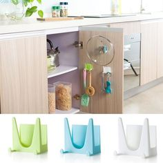0.43$  Watch here - Festival Plastic Kitchen Pot Pan Cover Shell Cover Sucker Tool Bracket Storage Rack   #aliexpresschina
