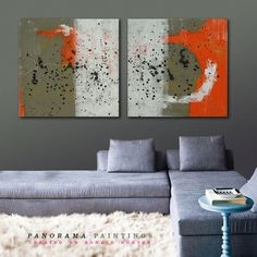 """Landscape Abstract painting -  Orange Landscape - Serie of two - Total size 63"""" x 31.5"""" Panorama Paintings on Etsy, $499.00"""
