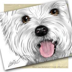 Notecards: Westie West Highland White Terrier Art, via Etsy.
