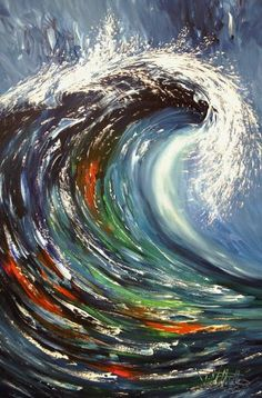 """Buy The Wave M 1, a Acrylic on Canvas by Peter Nottrott from Germany. It portrays: Seascape, relevant to: stormy ocean, Abstract Wave, ocean wave, seaside painting, Abstract Seaside Art, peter nottrott, stormy seaside, large abstract wave, abstract wave art, seaside waves, large ocean wave Large abstract painting. Original abstract expressionism art. 51.2"""" height x 31.5"""" width x 1.5"""" depth. (130 cm Höhe x 8o cm Breite x 3,8 cm Keilrahmenstärke) Original painting. Large abstrac..."""