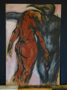 The painter, oil and acril mix painting on fibreboard 69 X 103 cm by FruitOnFurniture on Etsy