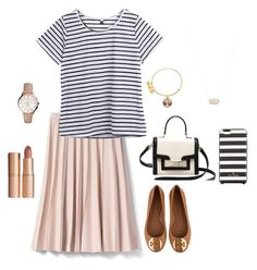 """Stripes"" by kjvmodestlymodest on Polyvore featuring Banana Republic, Tory Burch, Kate Spade, Alex and Ani, Kendra Scott, FOSSIL and Charlotte Tilbury"
