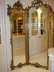 French, Louis XVI style tri-fold, full-length mirror: Each side ...