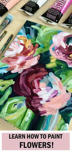 This is my most popular online flower painting class so far. Learn how to paint flowers on canvas with acrylic paint. Easy flower painting classes with step by step instructions by artist Elle Byers. Acrylic Painting For Beginners, Simple Acrylic Paintings, Acrylic Painting Tutorials, Beginner Painting, Easy Paintings, Acrylic Painting Canvas, Portrait Paintings, Painting Art, Online Painting