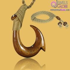 Carved Hawaiian Koa Wood Fish Hook Necklace