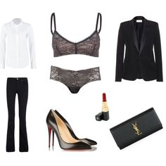 Getting ready for the spotlight by coci on Polyvore featuring Lee, Yves Saint Laurent, dVb Victoria Beckham, Sloggi, Christian Louboutin and Chanel