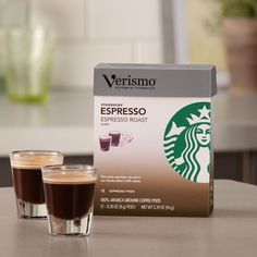 Verismo™ Espresso Roast Espresso Pods  The heart of our espresso beverages. A darker-roasted blend with a rich aroma and a hint of caramel. Tasting Notes  Rich & Caramelly Enjoy this with:  A chocolate croissant and a brisk walk to work. Roast Dark    $11.95 12 servings  http://websites-buy.com/starbucks-coffee-store