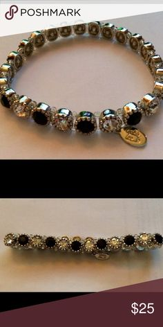 Cookie Lee stretch bracelet. Silver Cookie Lee stretch bracelet with black and clear stones. Cookie Lee Jewelry Bracelets